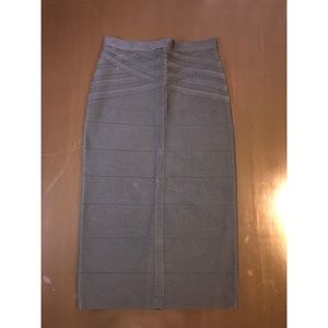 Black bandage bebe midi skirt